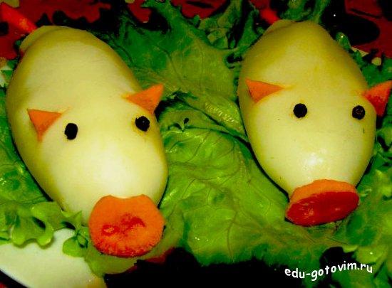 Украшение салатов в форме поросенка фото